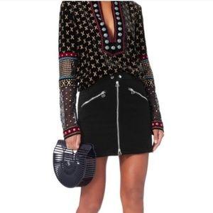 Rag & Bone velvet Racer zip mini skirt